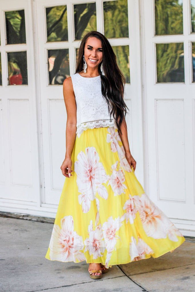 Pocket Full of Sunshine Maxi Skirt: Yellow - Bella and Bloom Boutique