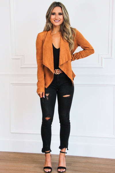 Suede Chic Jacket: Cognac - Bella and Bloom Boutique