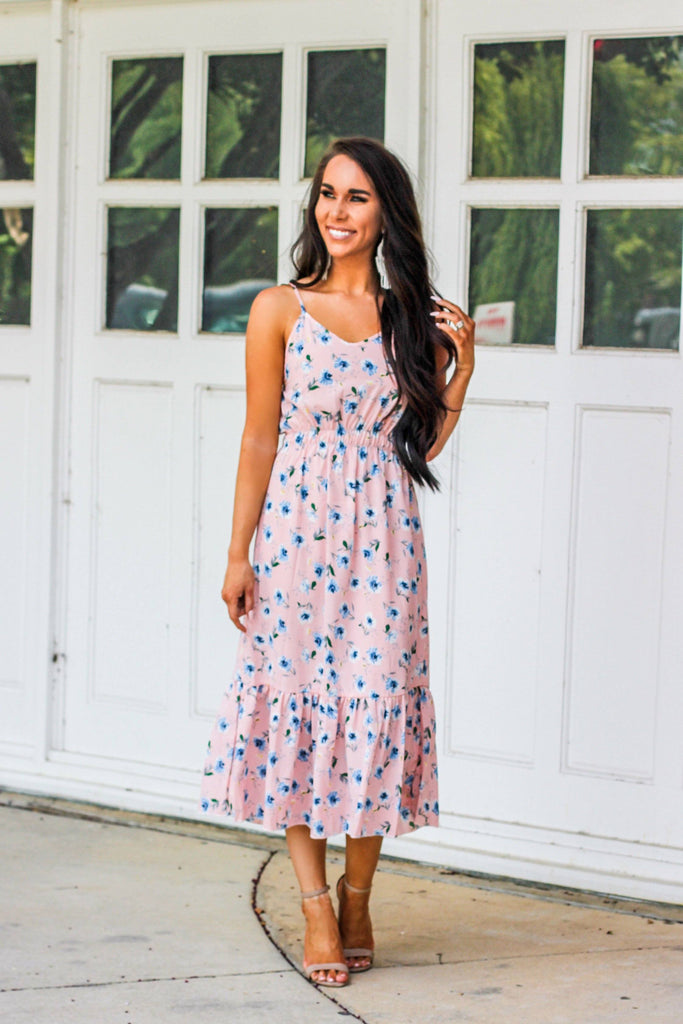 RESTOCK: Florals and Frills Dress: Blush - Bella and Bloom Boutique