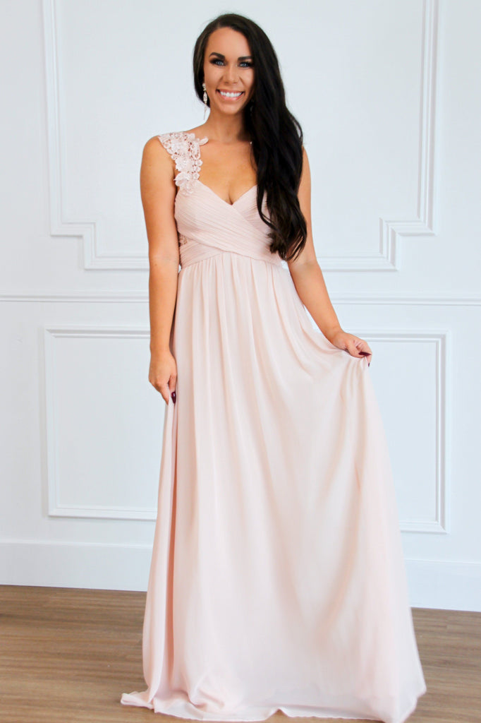 Touch of Lace Maxi Dress: Blush - Bella and Bloom Boutique