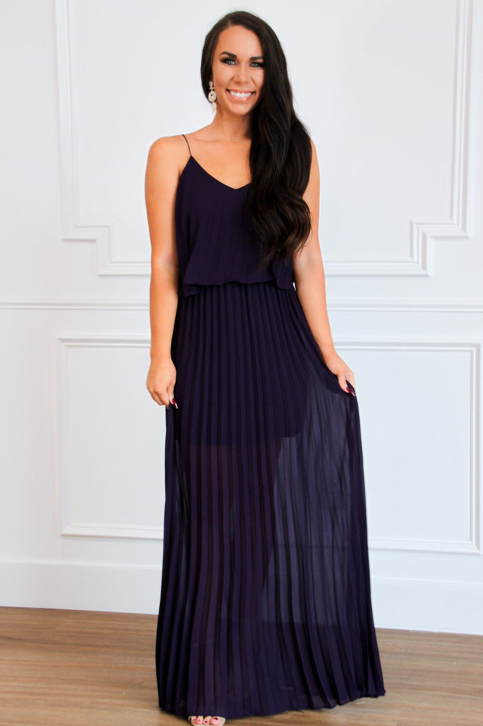 All About Pleats Maxi Dress: Plum - Bella and Bloom Boutique