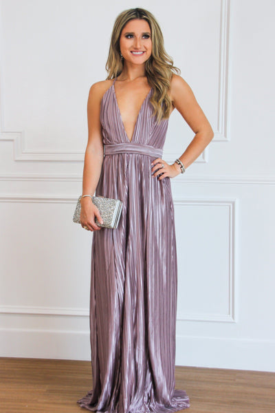 RESTOCK: Enchantment Pleated Maxi Dress: Mauve - Bella and Bloom Boutique
