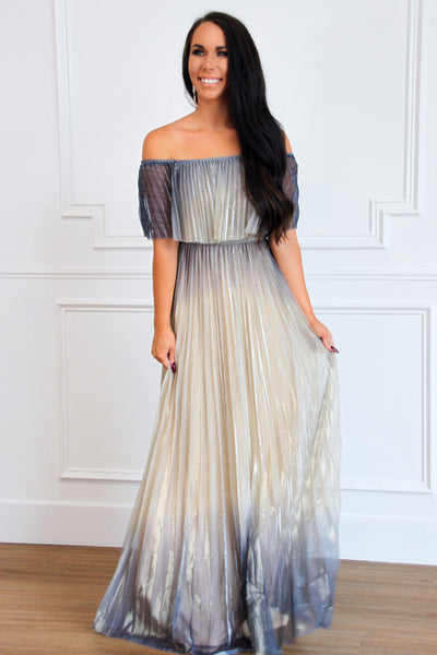 Just One Dance Maxi Dress: Navy/Champagne - Bella and Bloom Boutique
