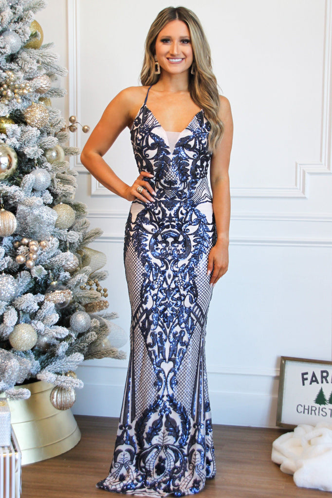 Night on the Town Maxi Dress: Navy Multi - Bella and Bloom Boutique