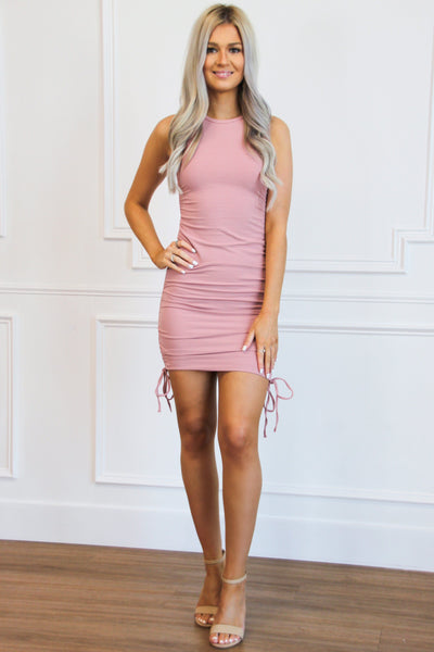 Ruched Tie Dress: Blush - Bella and Bloom Boutique