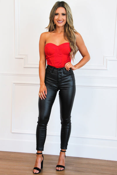 Red Hot Bustier Lace Bodysuit: Red - Bella and Bloom Boutique