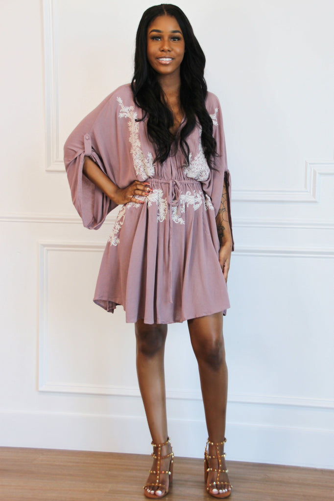 Love Shack Embroidered Dress: Mauve - Bella and Bloom Boutique