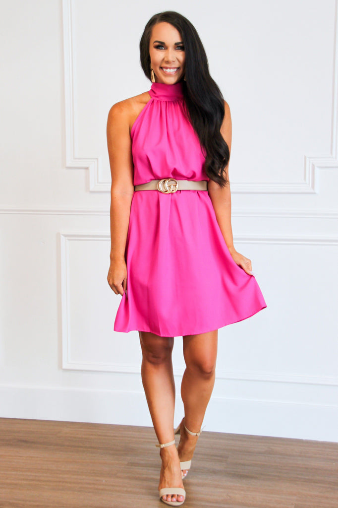 Stassi High Neck Dress: Fuchsia - Bella and Bloom Boutique