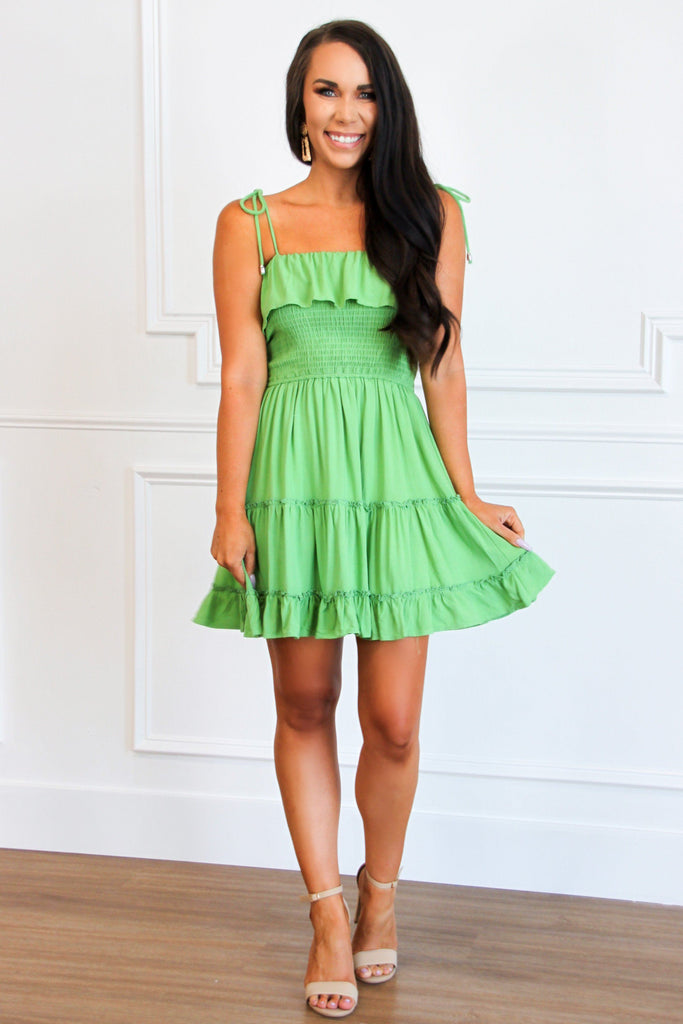 Wanna Be With You Smocked Dress: Lime - Bella and Bloom Boutique
