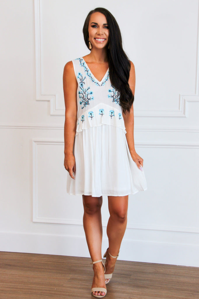 Winnie Embroidered Dress: White - Bella and Bloom Boutique