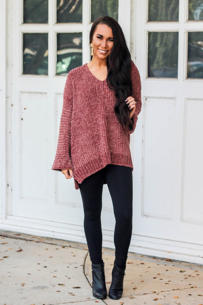 Cozy Feels Sweater: Brick - Bella and Bloom Boutique