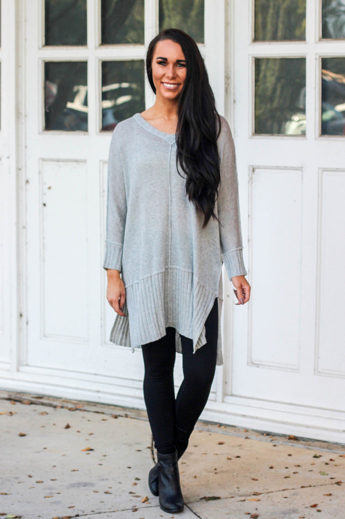 Cozy Crush Sweater: Light Gray - Bella and Bloom Boutique