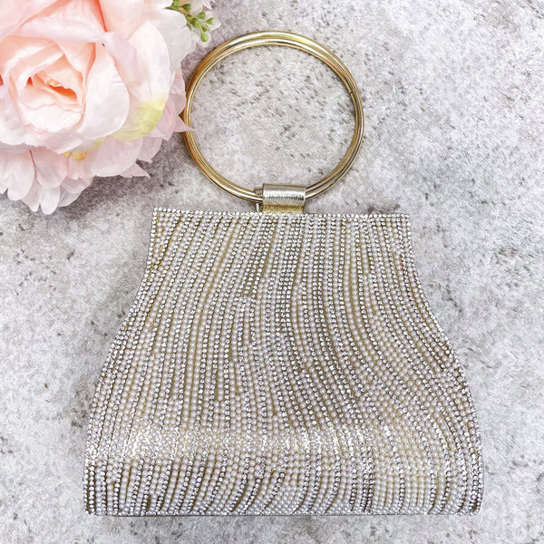 So Chic Pearl Evening Clutch: Gold/Silver - Bella and Bloom Boutique