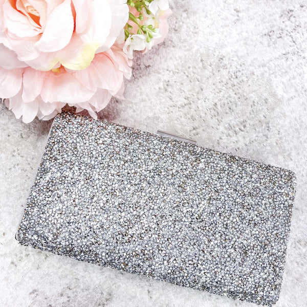 Black Tie Affair Clutch: Silver - Bella and Bloom Boutique
