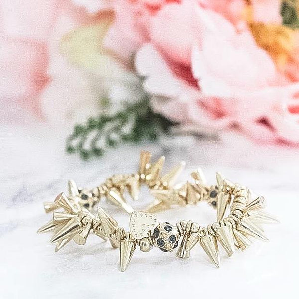 I Knew You Were Trouble Spiked Bracelet: Gold