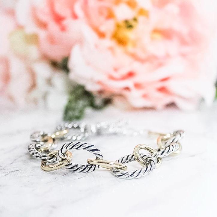RESTOCK: Chain of Love Bracelet: Silver/Gold