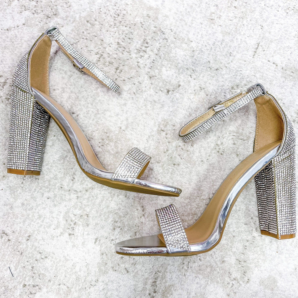 RESTOCK: Black Tie Affair Sparkly Heels: Silver - Bella and Bloom Boutique