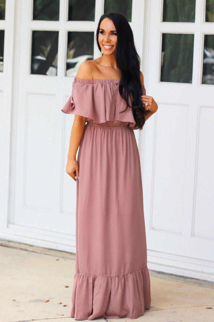 RESTOCK: See it Through Maxi Dress: Mauve - Bella and Bloom Boutique
