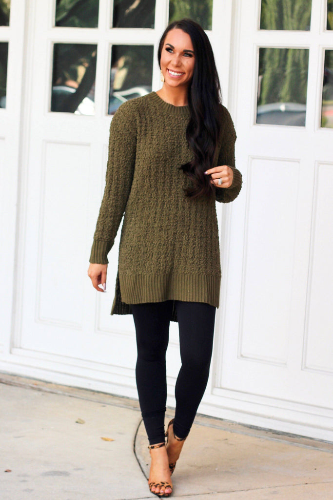 Falling Leaves Popcorn Sweater: Olive - Bella and Bloom Boutique