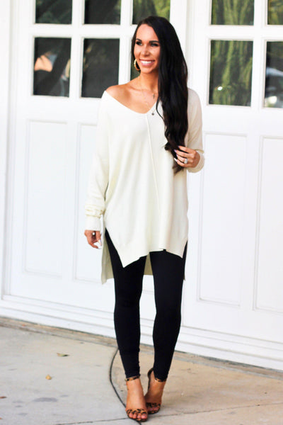 RESTOCK: Closet Essential Sweater: Cream - Bella and Bloom Boutique