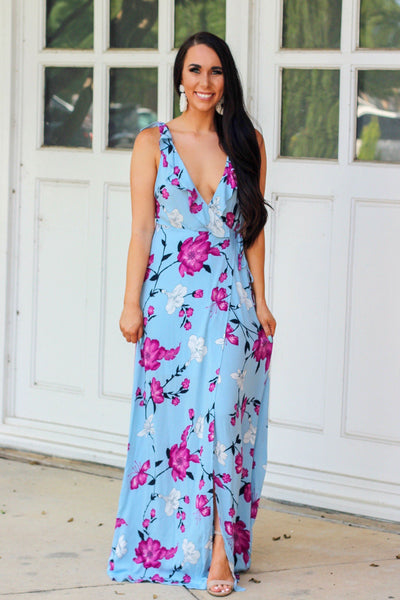 Daydreams Maxi Dress: Periwinkle - Bella and Bloom Boutique