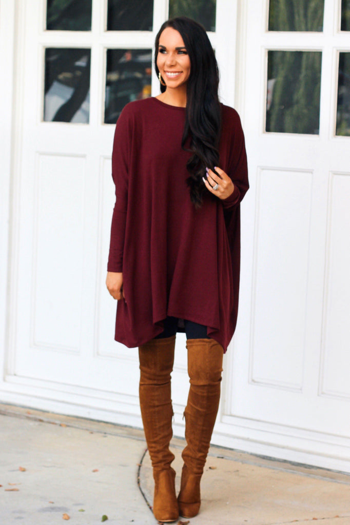 Fall Staple Sweater: Burgundy - Bella and Bloom Boutique