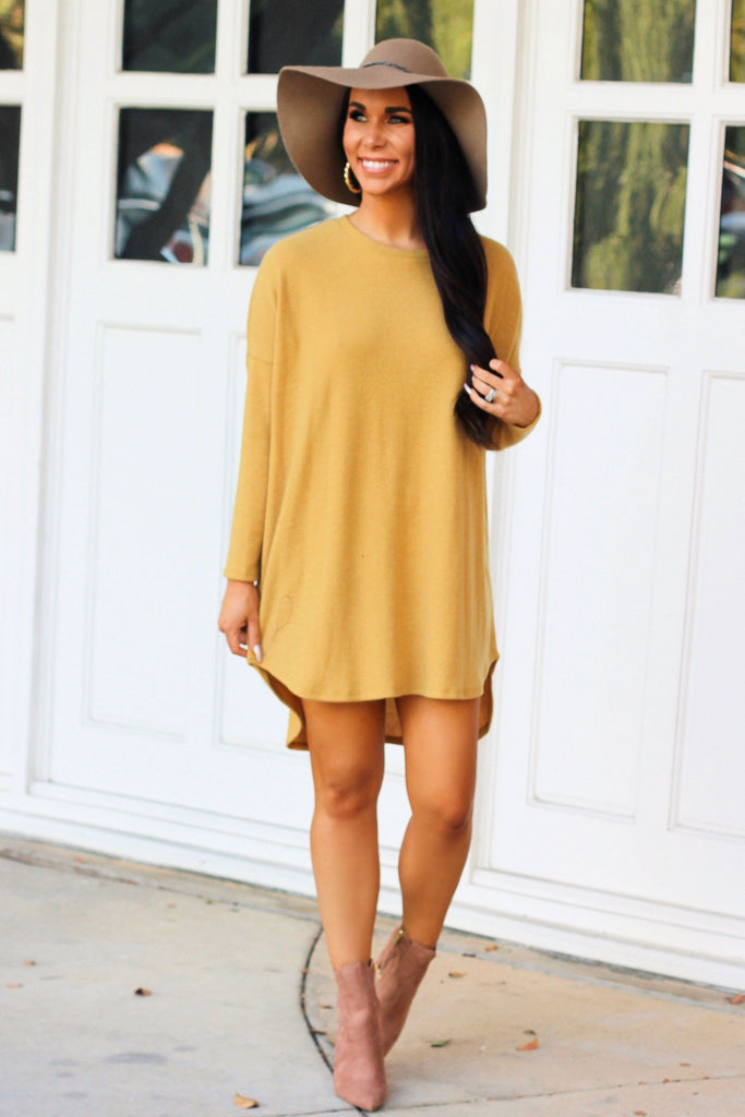 Fall Sweater Tunic Top: Mustard - Bella and Bloom Boutique
