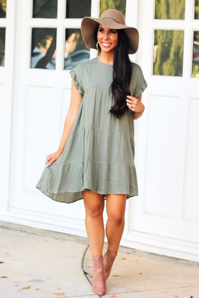 Take What You Want Dress: Light Olive - Bella and Bloom Boutique