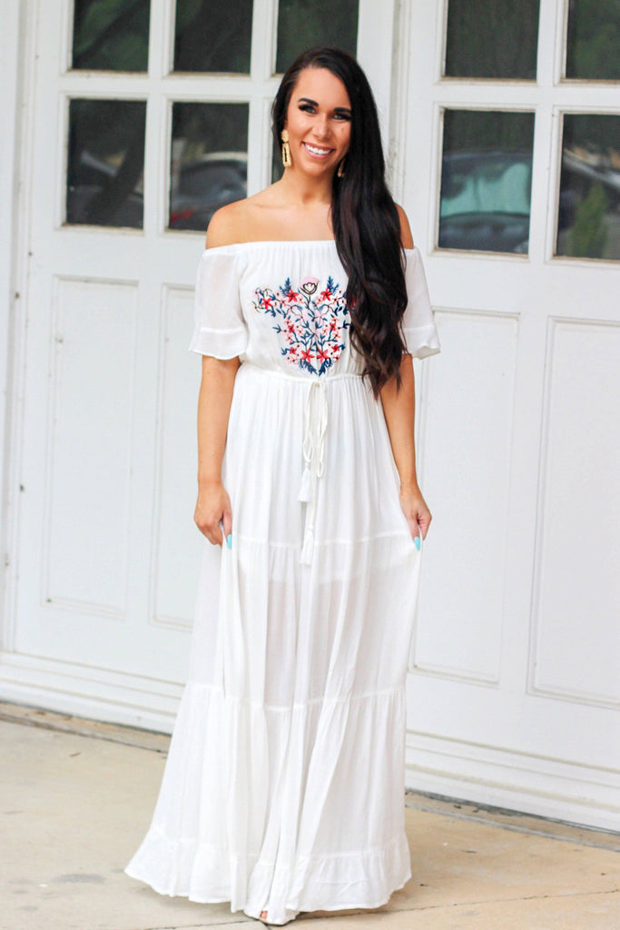 Cozumel Kiss Maxi Dress: White - Bella and Bloom Boutique