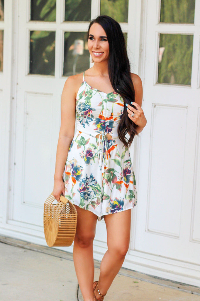 Baja California Romper: Ivory Multi - Bella and Bloom Boutique