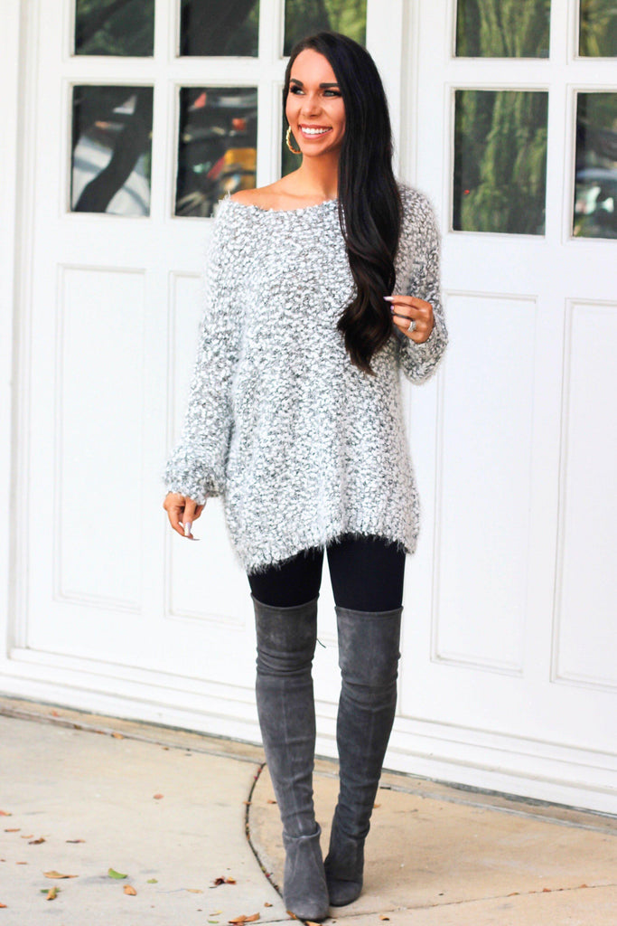 RESTOCK: In the Clouds Sweater: Light Gray - Bella and Bloom Boutique