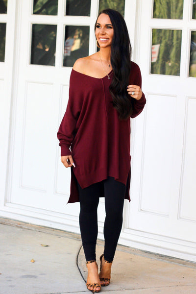 Closet Essential Sweater: Burgundy - Bella and Bloom Boutique