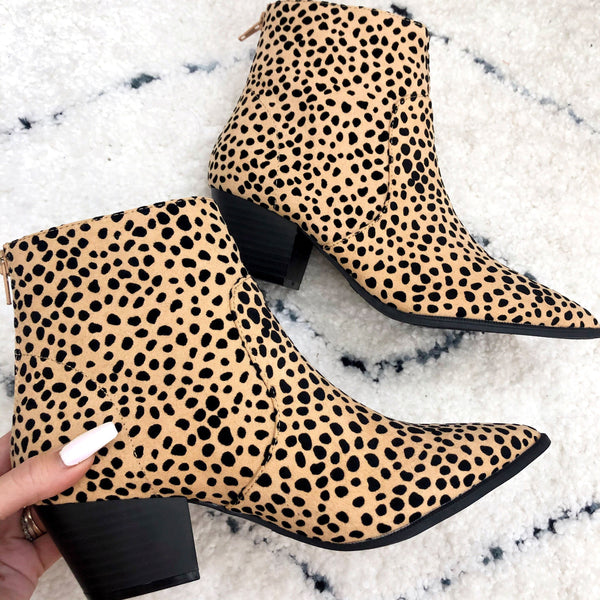 Liza Suede Booties: Cheetah - Bella and Bloom Boutique