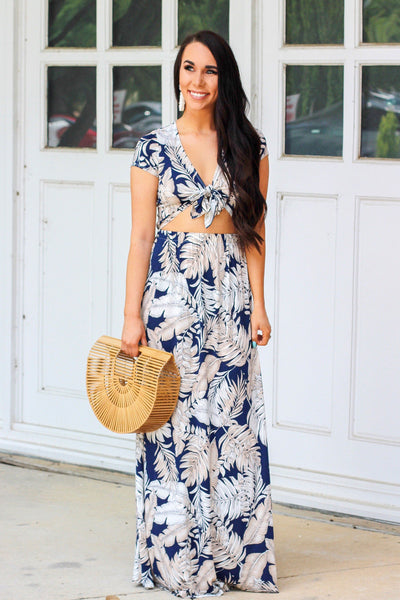 Boat Party Maxi Dress: Navy - Bella and Bloom Boutique
