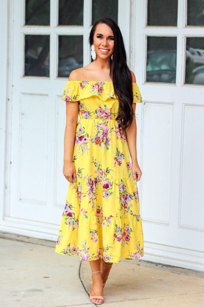 By the Boardwalk Midi Dress: Yellow - Bella and Bloom Boutique