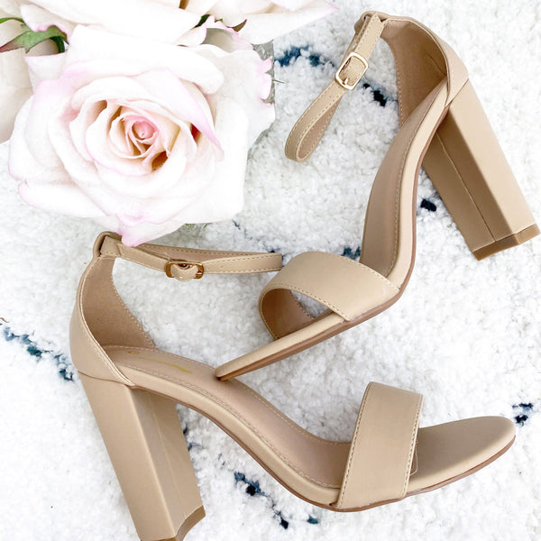 RESTOCK: Olivia Block Heels: Nude - Bella and Bloom Boutique