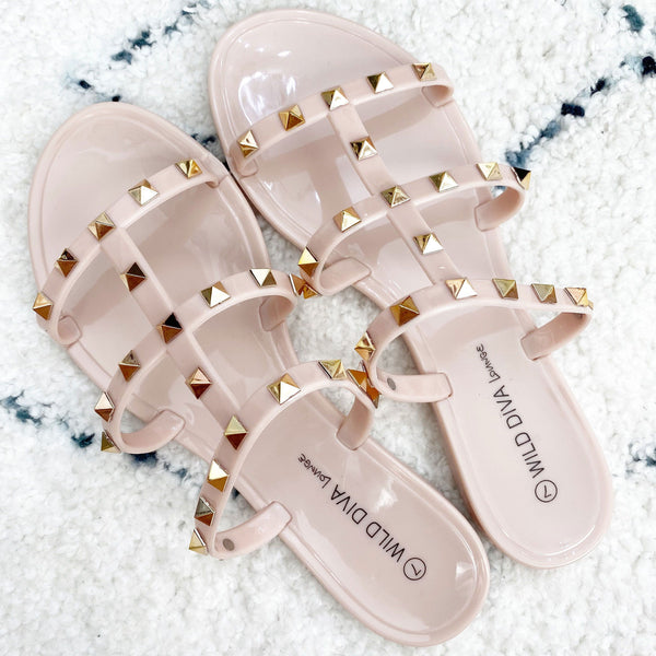 RESTOCK: Savannah Studded Jelly Sandals: Nude - Bella and Bloom Boutique