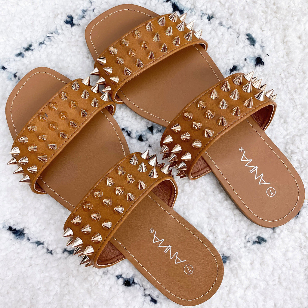 Rainey Double Strap Spike Sandals: Cognac - Bella and Bloom Boutique