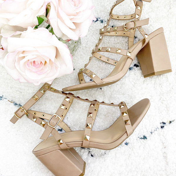 Emilia Studded Block Heels: Nude - Bella and Bloom Boutique
