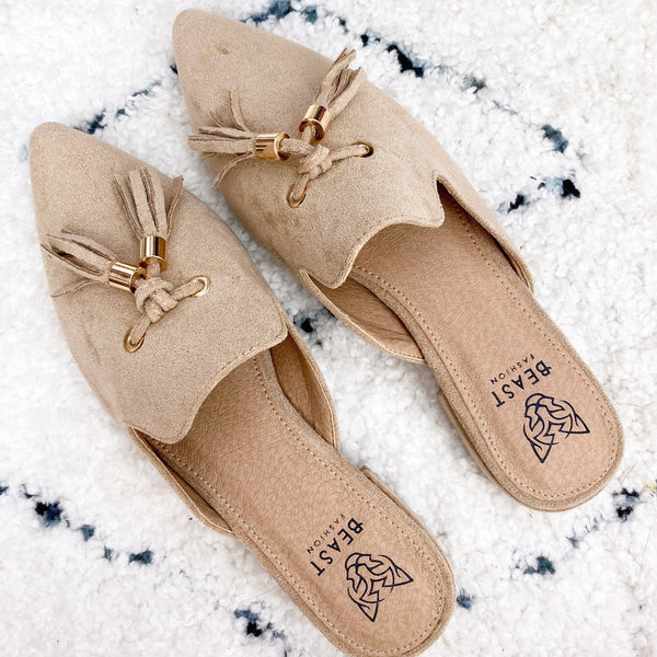 Nicki Tassel Suede Slides: Taupe - Bella and Bloom Boutique