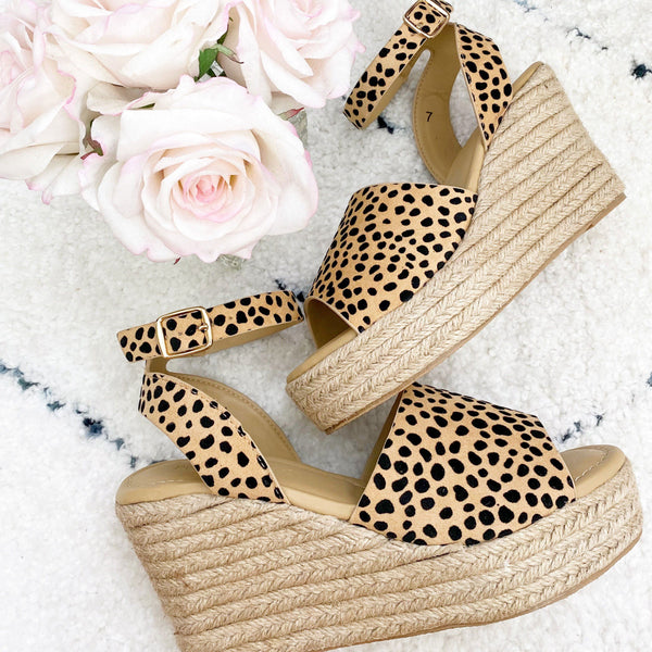 Hazel Espadrille Wedges: Cheetah - Bella and Bloom Boutique