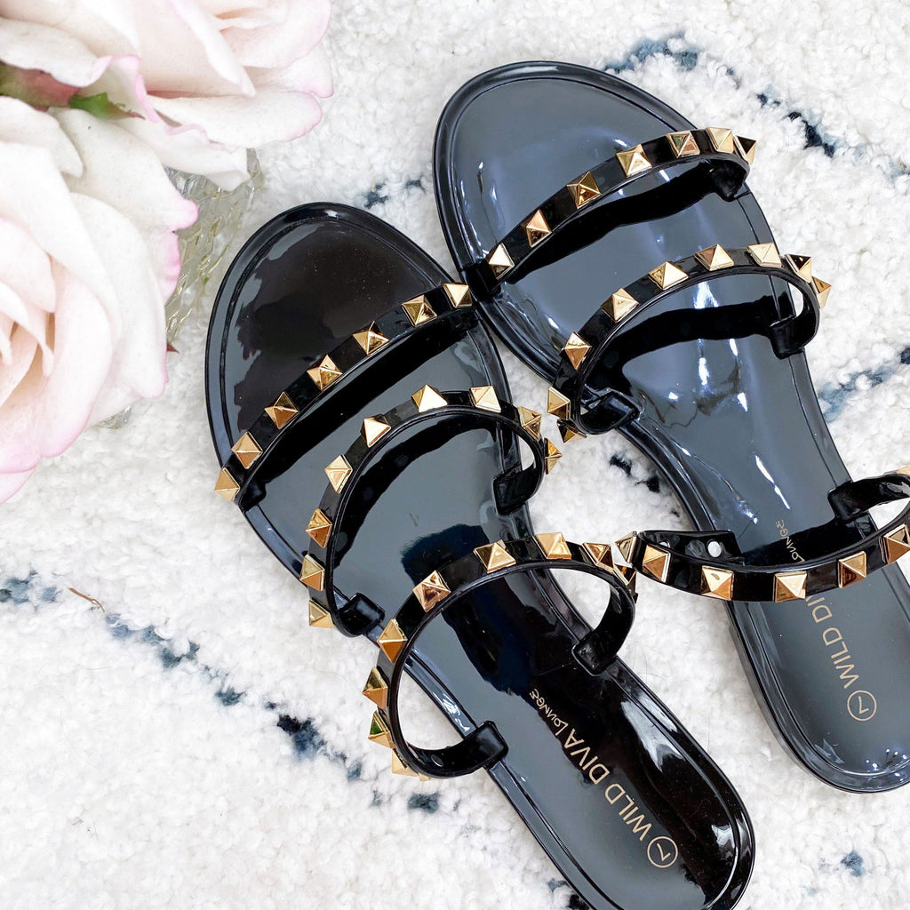 RESTOCK: Veronica Studded Jelly Sandals: Black - Bella and Bloom Boutique