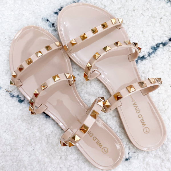 RESTOCK: Veronica Studded Jelly Sandals: Nude - Bella and Bloom Boutique