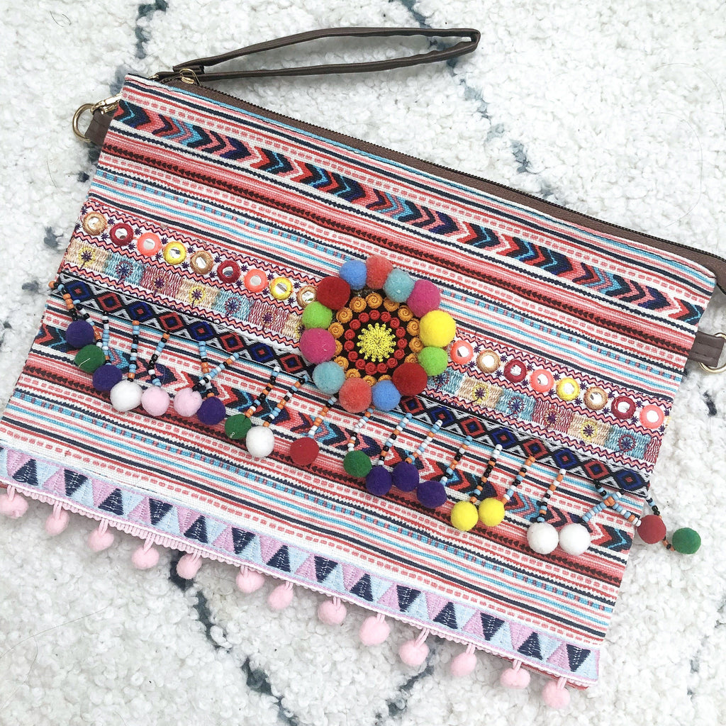 Embroidered Pom Clutch: Multi - Bella and Bloom Boutique