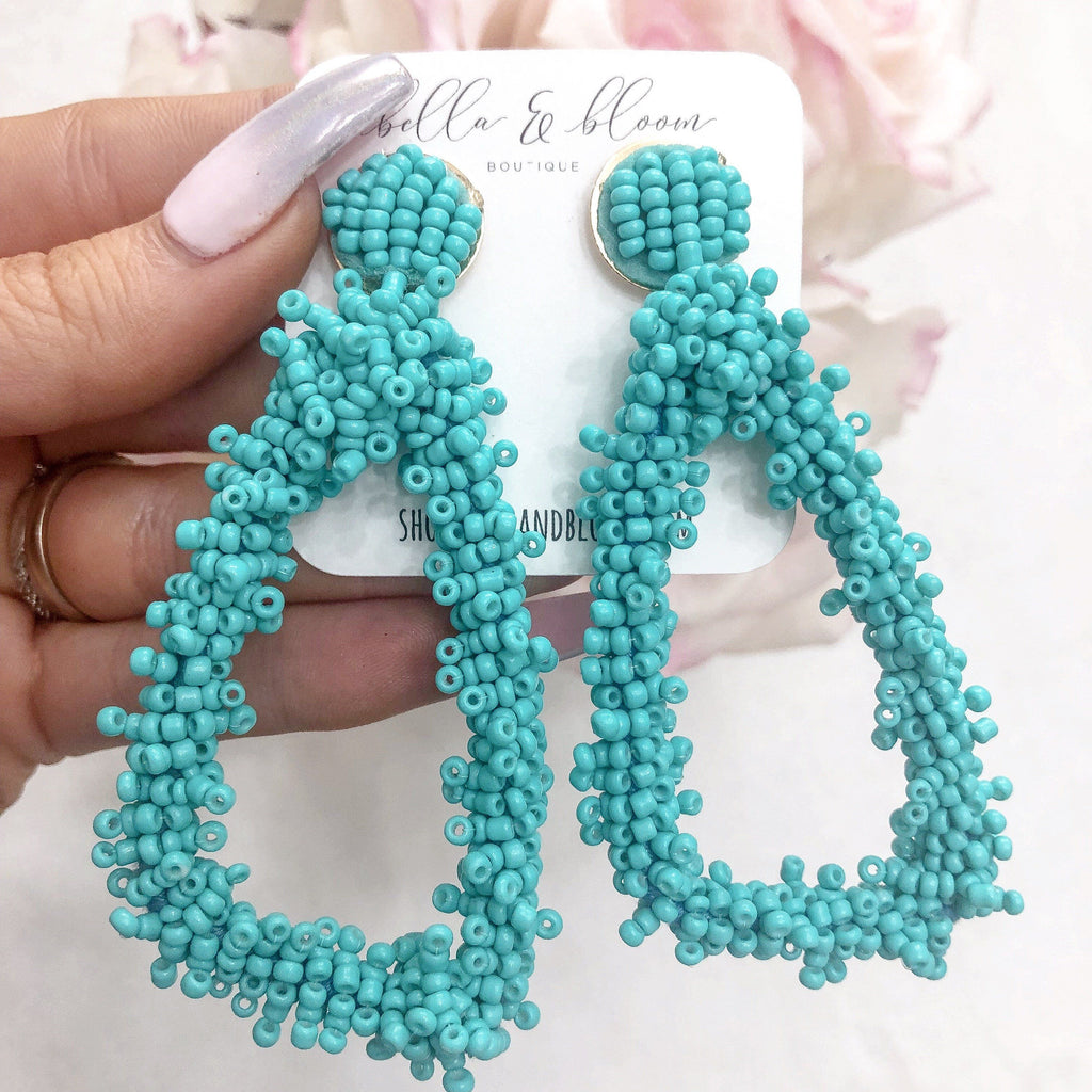 RESTOCK: Beaded Triangle Earrings: Turquoise - Bella and Bloom Boutique