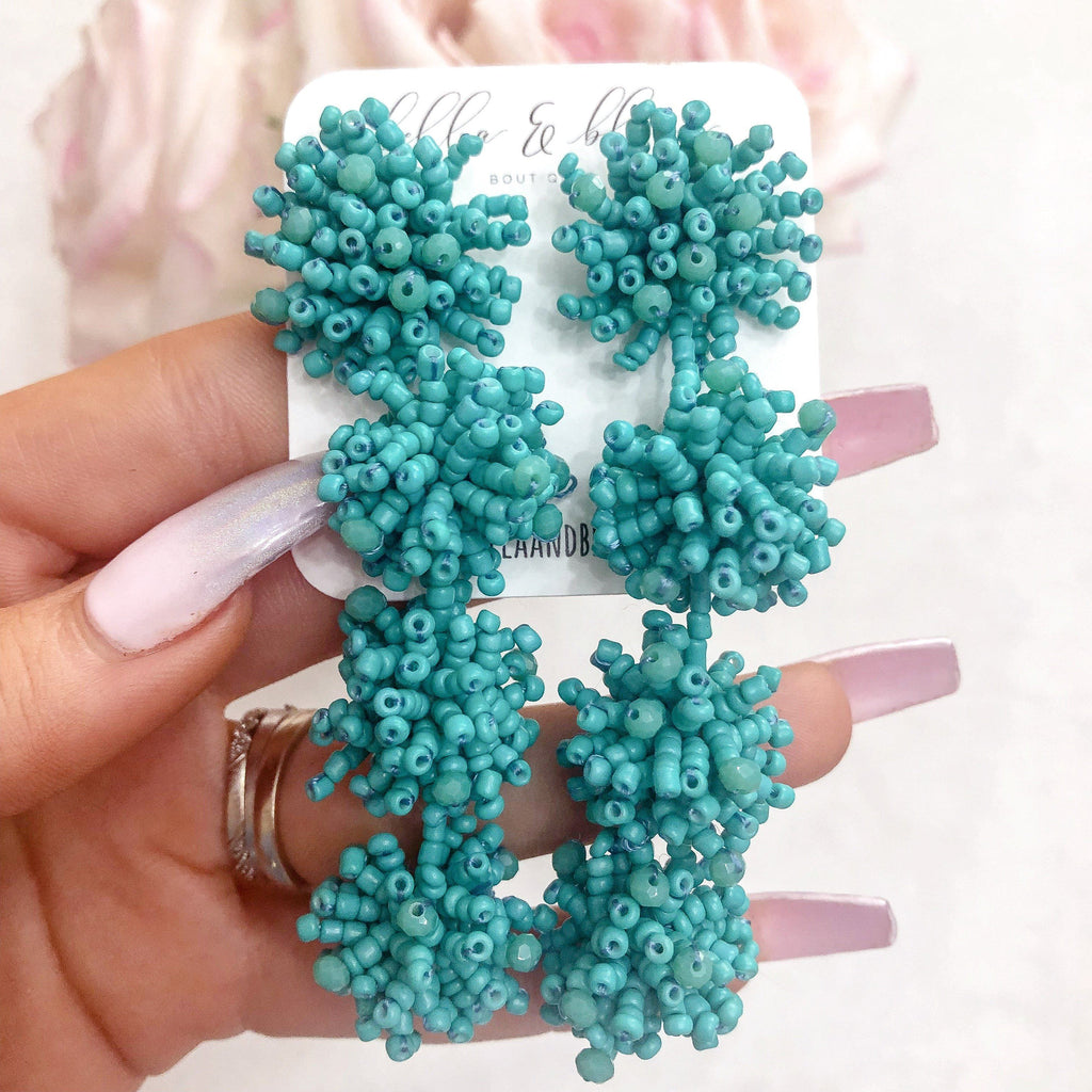 Beaded Tri-Drop Earrings: Turquoise - Bella and Bloom Boutique