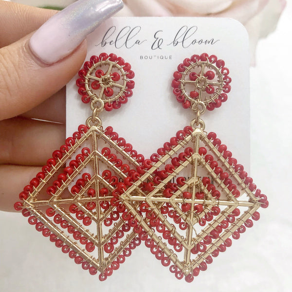 Multi-Diamond Beaded Earrings: Red - Bella and Bloom Boutique