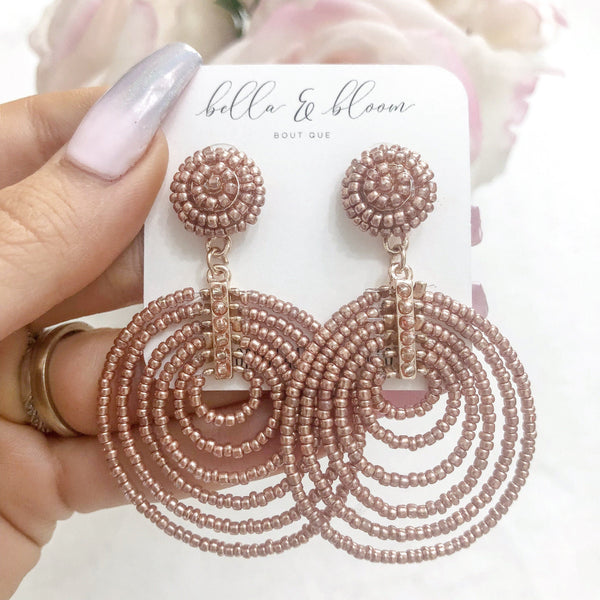 Beaded Layered Circle Earrings: Rose Gold - Bella and Bloom Boutique