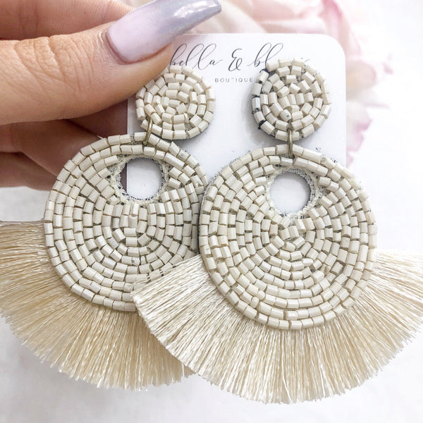 Beaded Fringe Disc Earrings: Ivory - Bella and Bloom Boutique