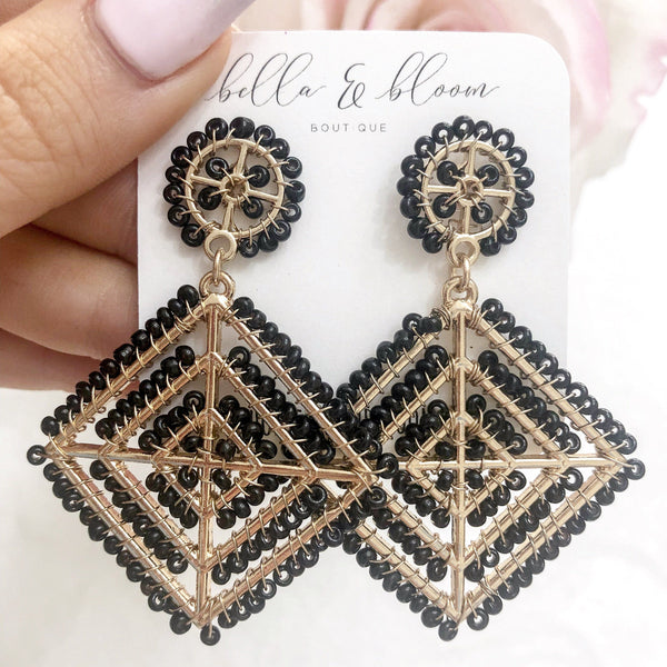 Multi-Diamond Beaded Earrings: Black - Bella and Bloom Boutique
